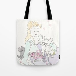 White French Bulldog Pup, Black Cat with Flower Tote Fashion Illustration in the Park Tote Bag