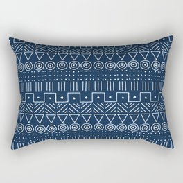 Mudcloth Style 1 in Navy Rectangular Pillow
