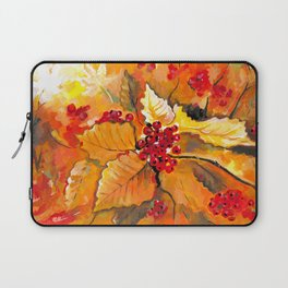 Autumn / Fall Painting - Berries and Changing Leaves Art Laptop Sleeve