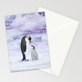 emperor penguins in the snow Stationery Cards