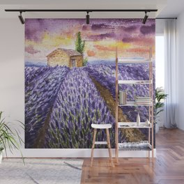 Lavenders Field in the Late Afternoon Wall Mural