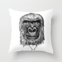 gorilla Throw Pillows featuring Gorilla  by Кaterina Кalinich