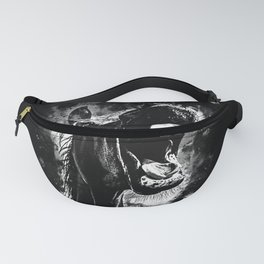 horse hilarious big mouth watercolor splatters black white Fanny Pack