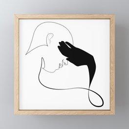 hideout - single line drawing Framed Mini Art Print