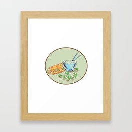 Bánh Mì Sandwich and Rice Bowl Drawing Framed Art Print