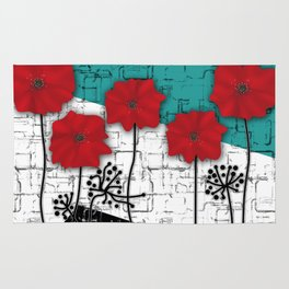 Applique. Poppies on turquoise black white background . Rug
