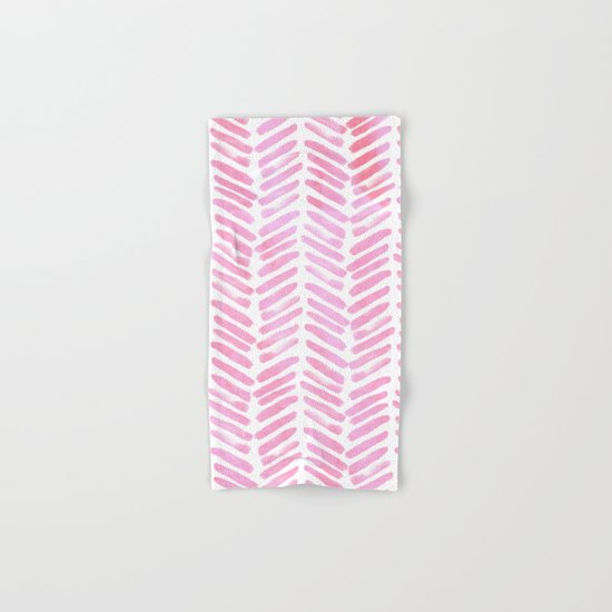 Handpainted Chevron pattern - pink and pink ;) Hand & Bath Towel