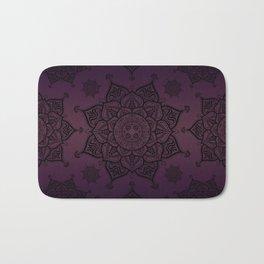 Mandala Violet Black Spiritual Zen Bohemian Hippie Yoga Mantra Meditation Bath Mat