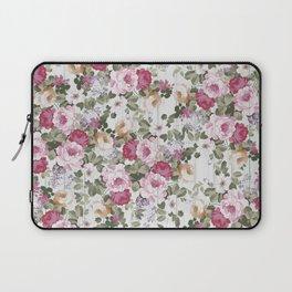 Vintage rustic white wood blush pink floral Laptop Sleeve