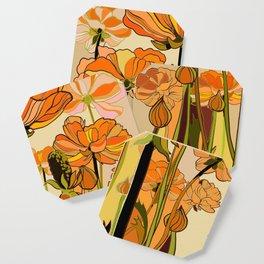 70s, Orange California poppies, mid century, 70s retro, flowers Coaster