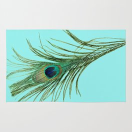 Peacock Feather on Blue Background Rug