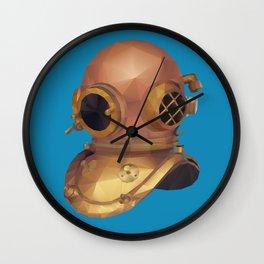 Retro Diver Helmet Polygon Art Wall Clock