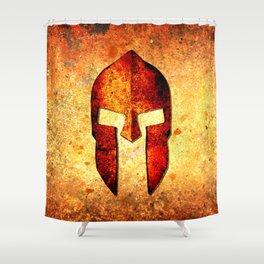Spartan Helmet On Rust Background - Molon Labe Shower Curtain