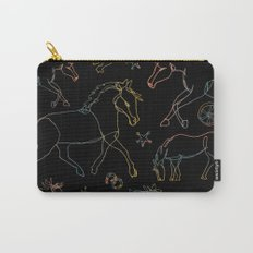Galloping Horses, Rainbow Gradient on Black Carry-All Pouch
