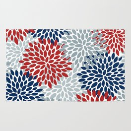 Floral Dahlia Print, Red, Navy, Blue, Gray Rug