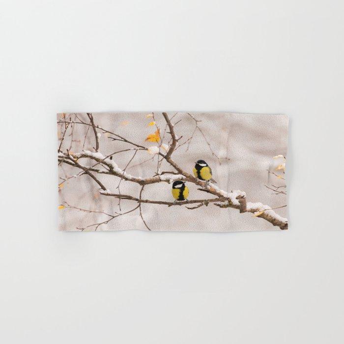 Lovely Songbirds on a Snowy Branch #decor #buyart #society6 Hand & Bath Towel