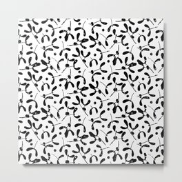 Rustic Mistletoe White and Black Metal Print