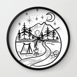 Nature camping Sign Wall Clock