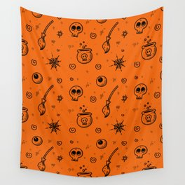 Halloween symbols seamless pattern Wall Tapestry