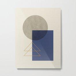 Geometric - Gray Blue Metal Print