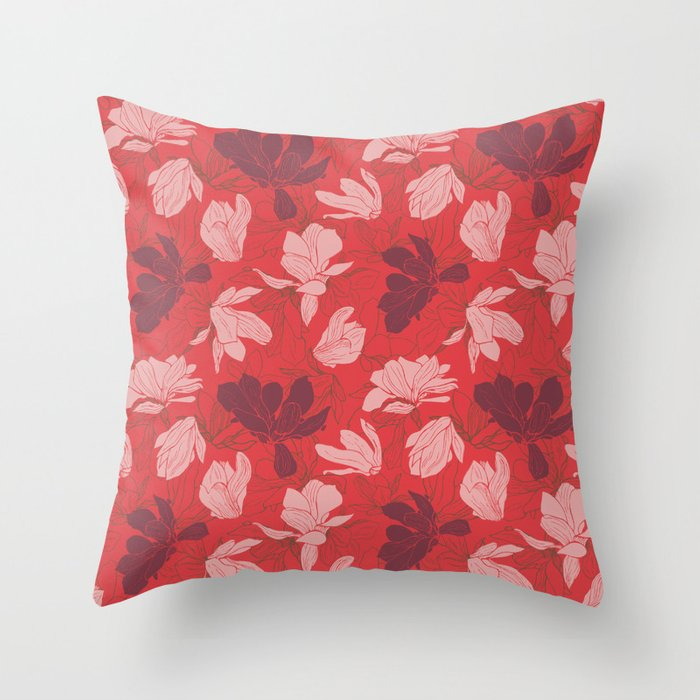 Spring Magnolias - coral red Throw Pillow