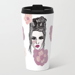 Pink Flowers Travel Mug