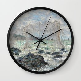 1882-Claude Monet-Fishing nets at Pourville-86 x 106 Wall Clock