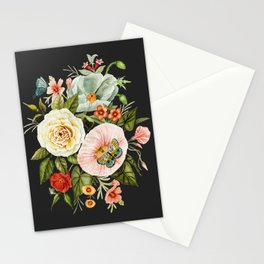 Wildflower and Butterflies Bouquet on Charcoal Black Stationery Cards