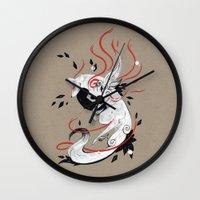 okami Wall Clocks featuring OKAMI RIBBONS by Rubis Firenos