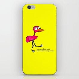 Pink Bird Not Perfect iPhone Skin