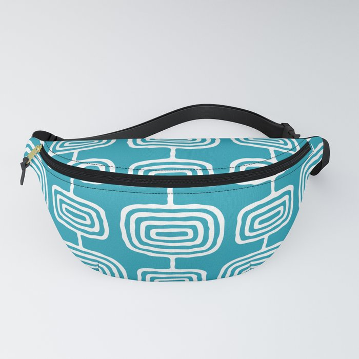 Mid Century Modern Atomic Rings Pattern Turquoise Fanny Pack