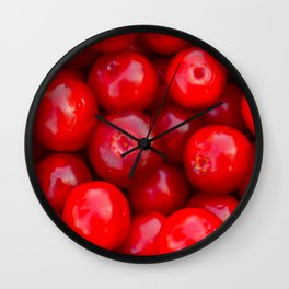Lingonberry berry fruit background Wall Clock