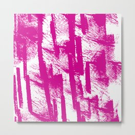 Hand painted  pink watercolor brushtrokes splatters pattern Metal Print