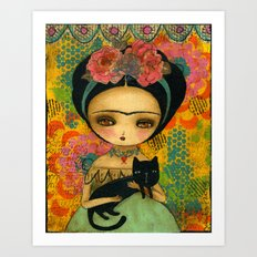 Frida And Her Cat Art Print