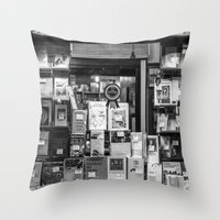 italian Throw Pillows featuring Italian Bookshop by Zeno Photography