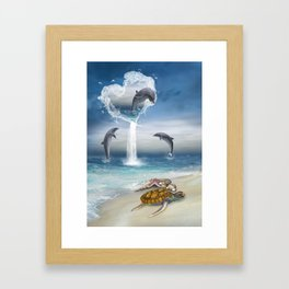 The Heart Of The Dolphins Framed Art Print