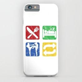 Eat Sleep Kickboxing Repeat Fighter Kickboxer Martial Arts Karate Combat Sports Gift iPhone Case