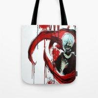 tokyo ghoul Tote Bags featuring Tokyo Ghoul - Kaneki Ken by IzaPug