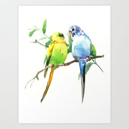 Budgies, Animal art, love, two birds bird artwork, bird pet Art Print