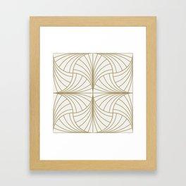 Diamond Series Inter Wave Gold on White Framed Art Print