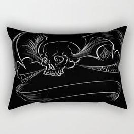 Skull Bat digital design/ with custom banner Rectangular Pillow