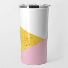 Gold & Pink Geometry Travel Mug