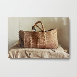 Old torn basket on canvas with holes and stains Metal Print