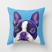 boston terrier Throw Pillows featuring Boston Terrier by Blue Giraffe Art Works