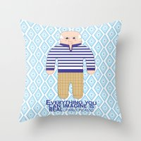 pablo picasso Throw Pillows featuring Pablo Picasso by Late Greats