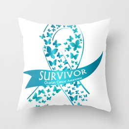 Survivor Ovarian Cancer Awareness Throw Pillow