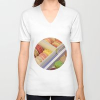macarons V-neck T-shirts featuring Macarons galore by in my closet