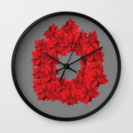 RED CHRISTMAS POINSETTIAS FLOWER WREATH DECORATIONS Wall Clock