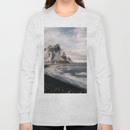 Stokksnes Icelandic Mountain Beach Sunset - Landscape Photography Long Sleeve T-shirt