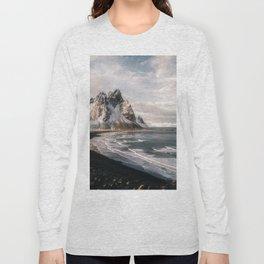 Stokksnes Icelandic Mountain Beach Sunset - Landscape Photography Long Sleeve T-shirt